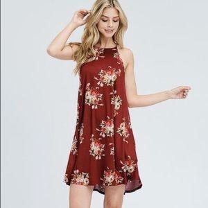 NWT burgundy halter top swing dress